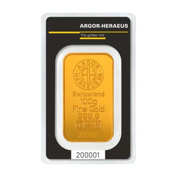Zlatna poluga 100 grama Argor Heraeus prednja strana