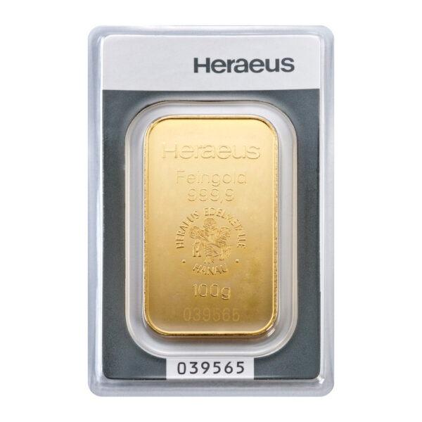 Zlatna poluga 100 grama Heraeus prednja strana
