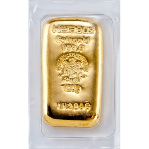 Zlatna poluga od 100 grama Heraeus, lijevana, prednja strana