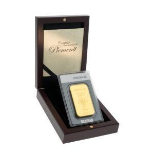 Zlatna poluga 100 grama Heraeus u drvenoj poklon kutiji