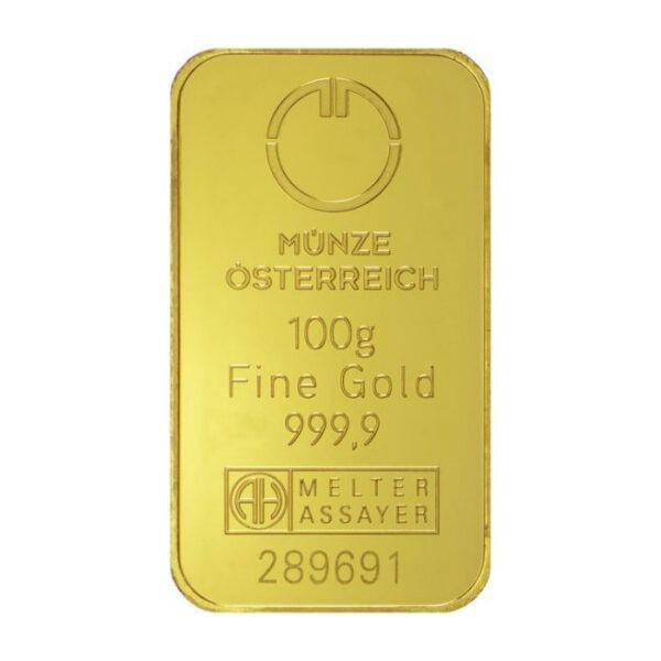 Zlatna poluga 100 grama Münze Österreich prednja strana