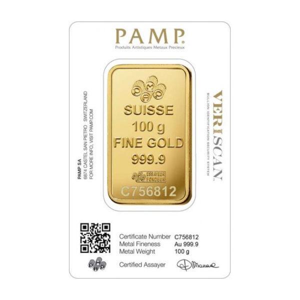 Zlatna poluga 100 grama PAMP stražnja strana