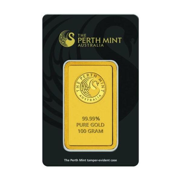 Zlatna poluga 100 grama Perth Mint prednja strana