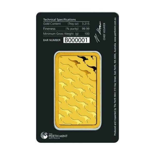 Zlatna poluga 100 grama Perth Mint stražnja strana