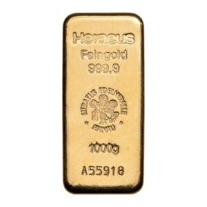 Zlatna poluga 1000 grama (1 kg) Heraeus, prednja strana