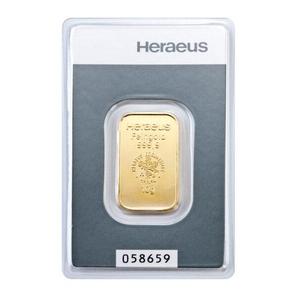 Zlatna poluga 10 grama Heraeus prednja strana