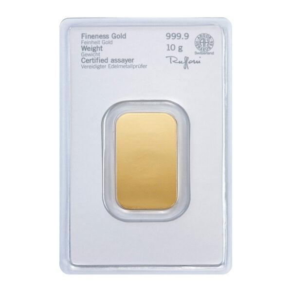 Zlatna poluga 10 grama Heraeus, stražnja strana