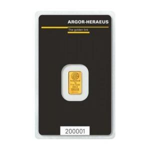 Zlatna poluga 1 gram Argor Heraeus prednja strana
