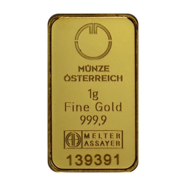 Zlatna poluga 1 gram Münze Österreich prednja strana