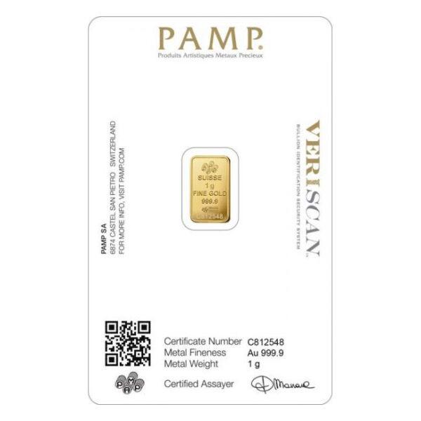 Zlatna poluga 1 gram PAMP prednja strana