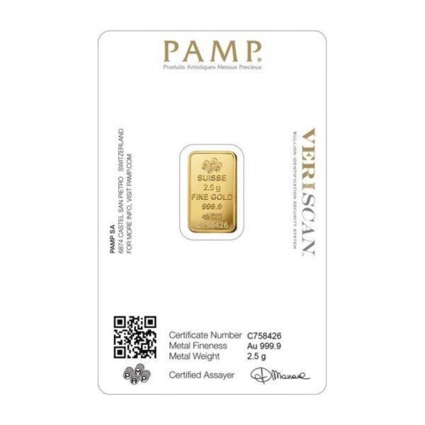 Zlatna poluga 2,5 grama PAMP stražnja strana