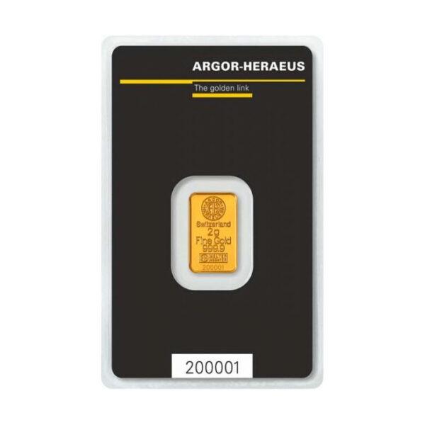 Zlatna poluga 2 grama Argor Heraeus prednja strana