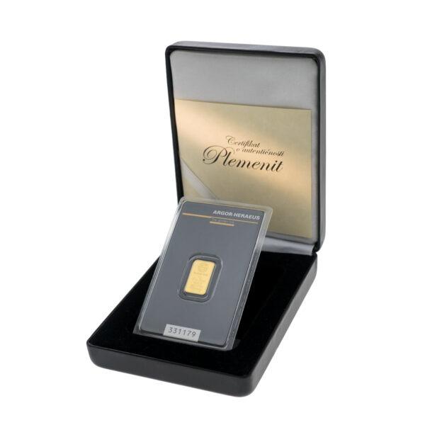 Zlatna poluga 2 grama Argor Heraeus u kutiji od umjetne kože