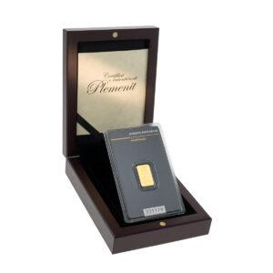 Zlatna poluga 2 grama Argor Heraeus u drvenoj kutiji