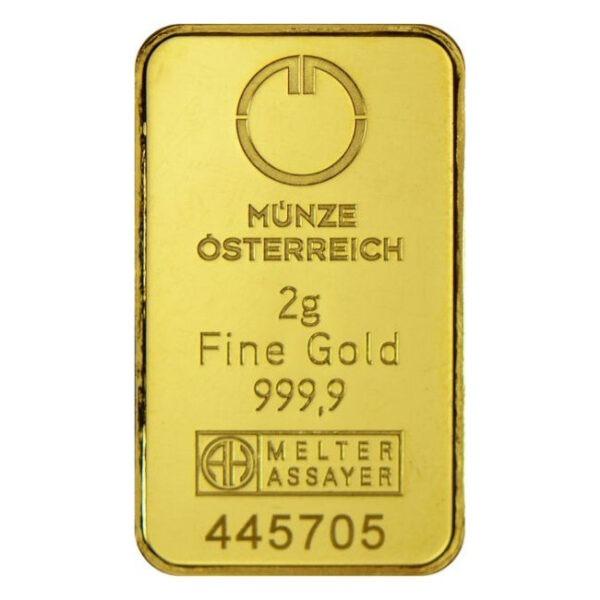 Zlatna poluga 2 grama Münze Österreich prednja strana
