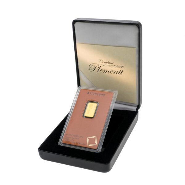 Zlatna poluga od 2 i pol grama Valcambi, u kutiji od umjetne kože