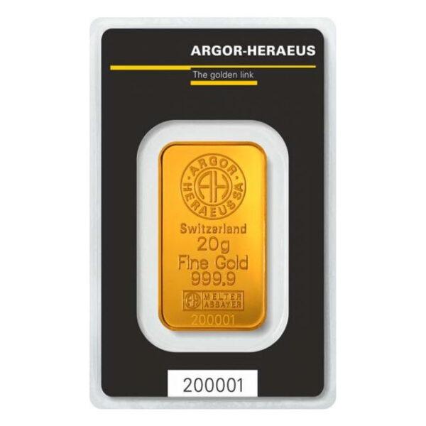 Zlatna poluga 20 grama Argor Heraeus prednja strana