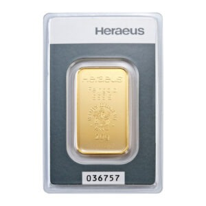 Zlatna poluga 20 grama Heraeus prednja strana