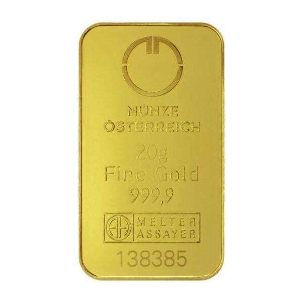 Zlatna poluga 20 grama Münze Österreich prednja strana