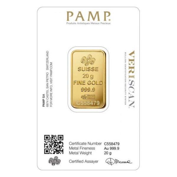 Zlatna poluga 20 grama PAMP stražnja strana