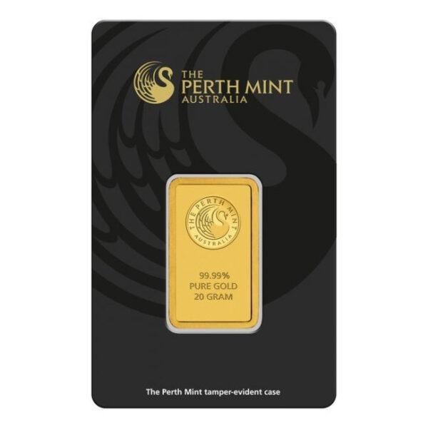 Zlatna poluga 20 grama Perth Mint prednja strana