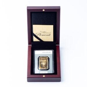 Zlatna poluga 20 grama u ukrasnoj drvenoj poklon kutiji
