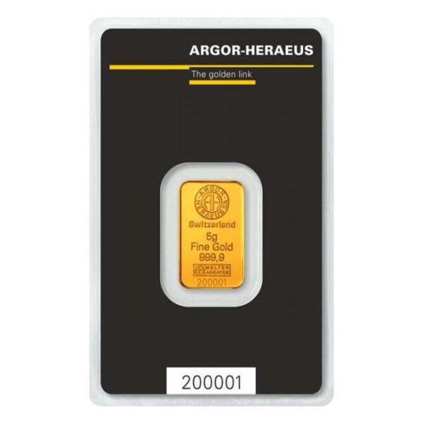 Zlatna poluga 5 grama Argor Heraeus prednja strana