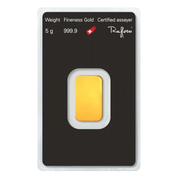 Zlatna poluga 5 grama Argor Heraeus stražnja strana