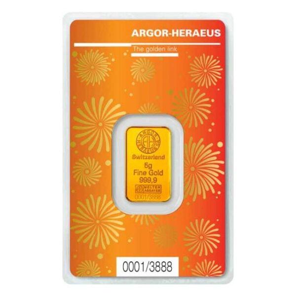 Zlatna poluga 5 grama Argor Heraeus Limited edition Godina bika 2021 prednja strana