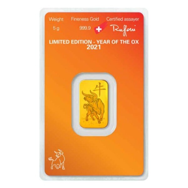 Zlatna poluga 5 grama Argor Heraeus Limited edition Godina bika 2021 stražnja strana