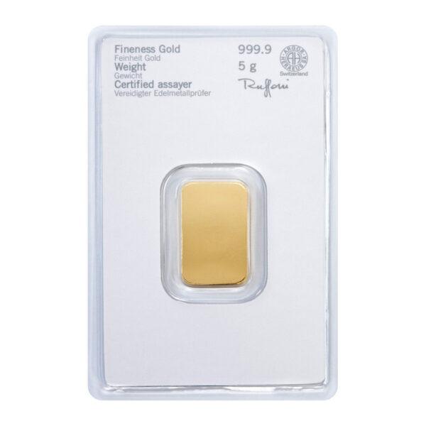 Zlatna poluga 5 grama Heraeus stražnja strana