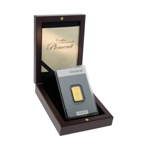 Zlatna poluga 5 grama Heraeus u drvenoj poklon kutiji
