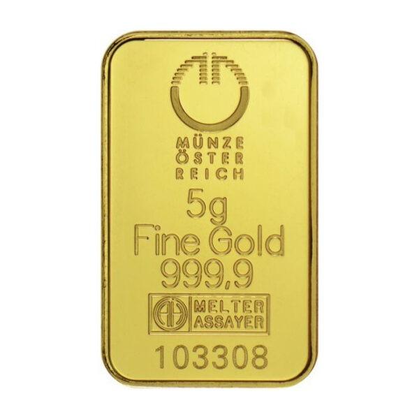 Zlatna poluga 5 grama Münze Österreich prednja strana