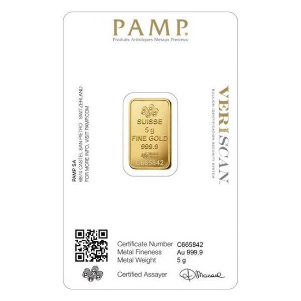 Zlatna poluga 5 grama PAMP prednja strana