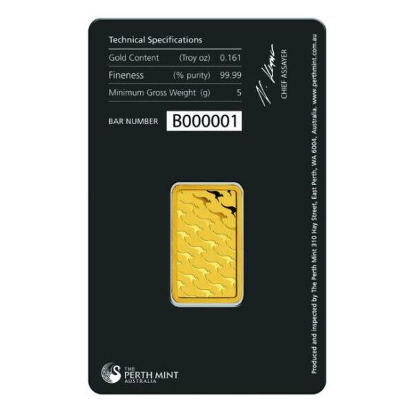 Zlatna poluga 5 grama Perth Mint stražnja strana
