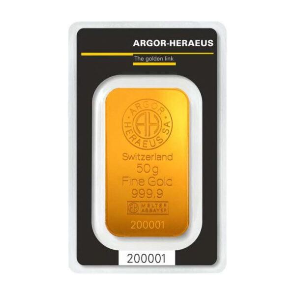 Zlatna poluga 50 grama Argor Heraeus prednja strana