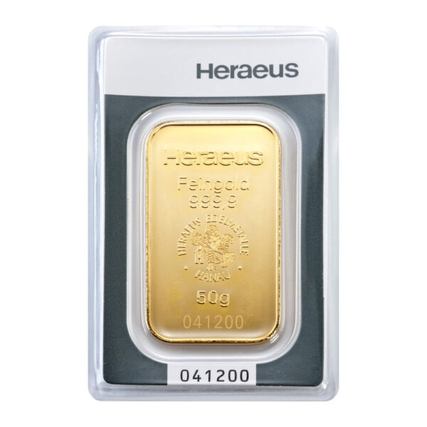 Zlatna poluga 50 grama Heraeus prednja strana