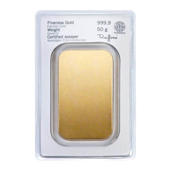 Zlatna poluga 50 grama Heraeus stražnja strana