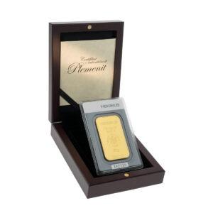 Zlatna poluga 50 grama Heraeus u drvenoj poklon kutiji