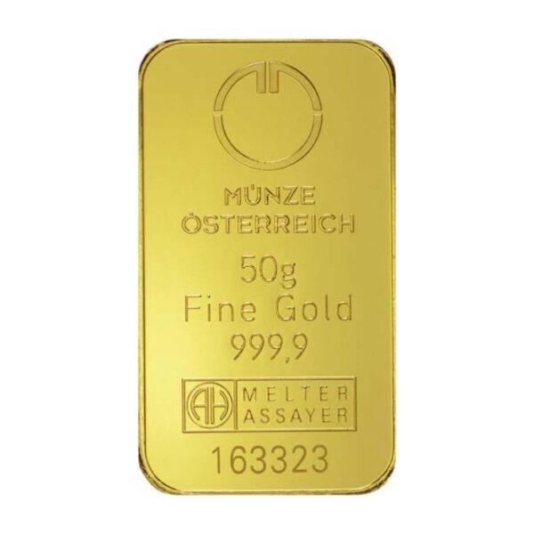 Zlatna poluga 50 grama Münze Österreich prednja strana
