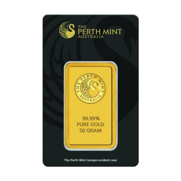 Zlatna poluga 50 grama Perth Mint prednja strana