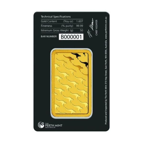 Zlatna poluga 50 grama Perth Mint stražnja strana