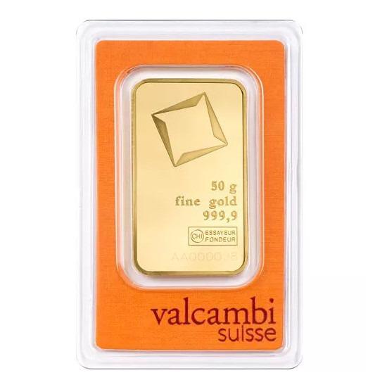 Zlatna poluga 50 grama Valcambi, prednja strana