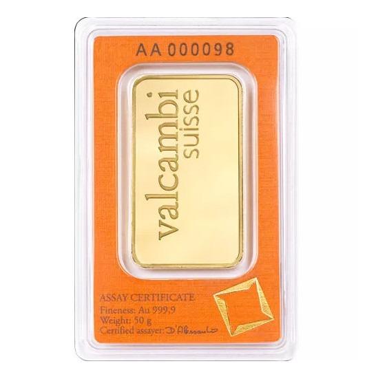 Zlatna poluga 50 grama Valcambi, stražnja strana