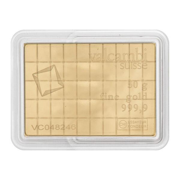 Zlatna poluga 50 x 1 gram Valcambi Combibar prednja strana