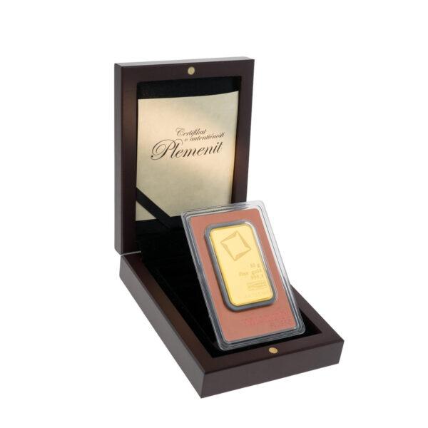 Zlatna poluga 50 grama Valcambi u drvenoj poklon kutiji