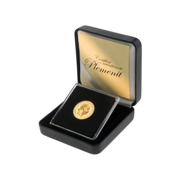 Zlatni dukat (jednostruki) Franc Ios u kutiji od umjetne kože, prednja strana