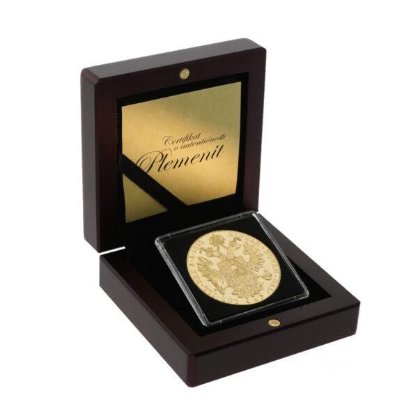 Veliki zlatni dukat Franc Ios u drvenoj poklon kutiji, stražnja strana