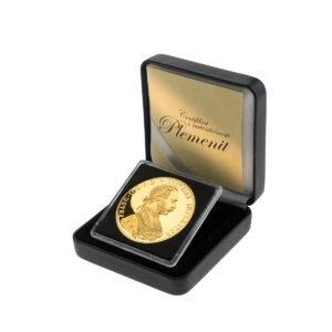 Zlatni veliki (četvorostruki) dukat u kutiji od umjetne kože, prednja strana