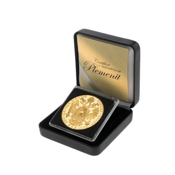 Zlatni veliki (četvorostruki) dukat u kutiji od umjetne kože, stražnja strana